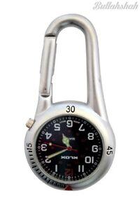 Silver Clipon Carabiner FOB Watch Black Face for Doctors Nurses Paramedics Chefs