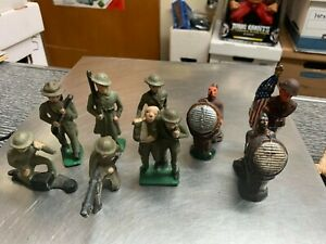 Painted U.S. WW1 Barclay Cast Iron Soldier, Long Coat, Wounded, Flag Bearer, LOT