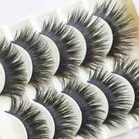 BEST 5 Pairs False Eyelashes THICK LONG WISPY Strip Fake Dramatic Lashes MakeUp