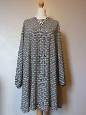 H&M Monochrome Viscose Crepe Dress with Lacing Size 14 Uk BNWT RRP £33.98 Black