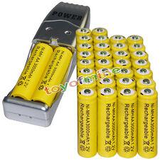 32x AA battery batteries Bulk Rechargeable NI-MH 3000mAh 1.2V Yel + USB Charger