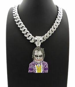 DIAMOND JOKER PENDANT SILVER MIAMI CUBAN LINK CHAIN NECKLACE HIPHOP RAPPER