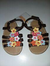 Gymboree 2012 Aloha Sunshine Brown Floral Strappy Sandals Toddler Girls sz 3 Nwt