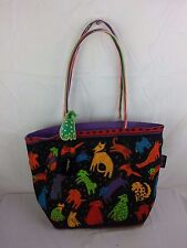 Laurel Burch Puppy Dogs LARGE Tote Shoulder Bag Purse Handbag