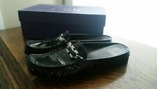 Stuart weitzman 7.5 black patent slip on mules shoes