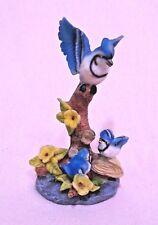 Vogel Figur DekoHöhe 20cm Blauer Vogel Häher mit kleiner vögelchen Zierobjekte