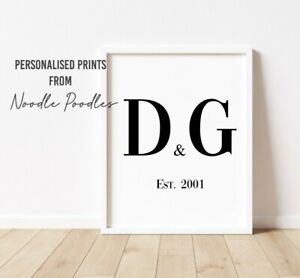 Personalised Initial And Date Print   Couples Wall Art   Bedroom Home Decor