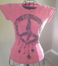 Awake by OS rose Embellished peace sign  T-Shirt  sz SMALL EUC