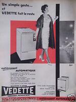 PUBLICITÉ 1959 MACHINE A LAVER VEDETTE ENTIÈREMENT AUTOMATIQUE - ADVERTISING