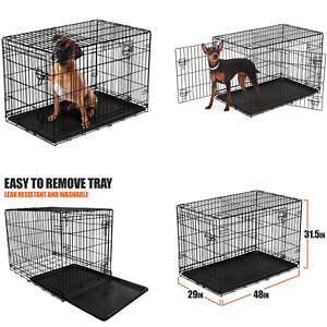 X-Large 48 Inch Double Door Folding Dog Crate With Divider And Locking Latches
