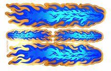 4 AUFKLEBER Sticker Tribal Flammen blau flames 26,5x17,5 cm je Bogen