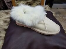 "N&A GREEK HANDMADE GENUINE ""LEATHER & FUR"" WOMEN'S SLIPPERS, BOOTS W/ SHOE LACE"