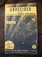 Partition Undecided  Benny Goodman Charles Shavers Music Sheet