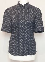 LAURA ASHLEY Navy Floral Cotton Embroidered Button Front Shirt Blouse Top Size 8