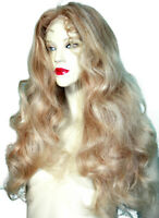 REAL Human Hair Blonde Mix 613/27 Curly Wavy Glueless Lace Wig Remi Remy Long