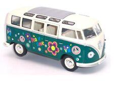 """7"""" Kinsmart 1962 VW Volkswagen Bus Decal Diecast Model Toy Car Van 1:24 Green"""