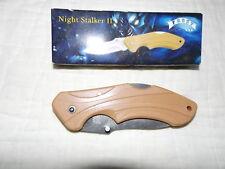 """Night Stalker Ii 4 1/2"""" Folding Lockback Thumb Stud Ss Blade Sand Colored Handle"""