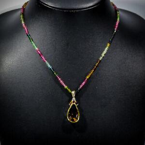 21ct+ Fine Art Cognac Quartz Necklace 925 Sterling Silver  Length 20/N04904