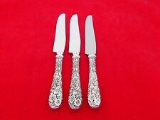 Set of 3 Kirk Sterling Silver Repousse Huge Dinner Knives HN-26