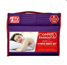 Copper X Bamboo Bed Sheet 6 PIECE SET!!! KING SIZE DEEP POCKETS Wrinkle Free!!!