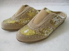 JOAN BOYCE GOLD & SILVER SEQUIN SLIDES SHOES SIZE 9 1/2 M - NEW