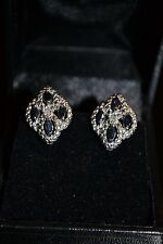 DIAMOND & SAPPHIRE + EARRINGS + 925 STERLING SILVER + $500 VALUE