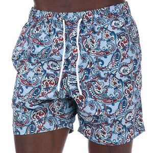Pretty Green Mens PAISLEY PRINT SWIM SHORT In Blue Size XS