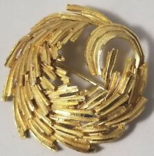 BSK Gold Tone Round Brooch Pin