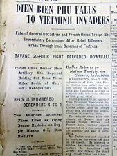 10 1954 newspapers FRENCH DEFEATED @ DIEN BIEN PHU-US role in VIETNAM WAR BEGINS