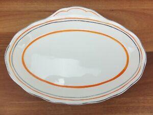Vintage GRINDLEY Creampetal Cream Petal Oval Sandwich Plate Orange & Silver