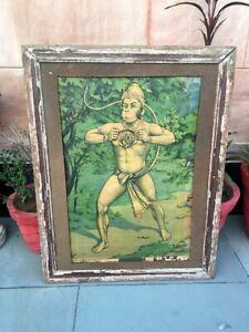 Antique Old Hindu God Hanuman Litho Print Wooden Frame
