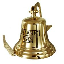 More details for buckingham solid brass titanic 1912 ship bell pub door wall mountable bell 20 cm