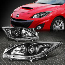 For 10-13 Mazda 3 Pair Black Housing Clear Corner Projector Headlight Head Lamp (Fits: Mazda)