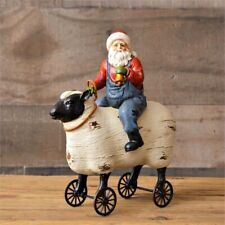 Primitive Country` Santa Riding Sheep`Figurine Pull Toy` Wheels Turn`