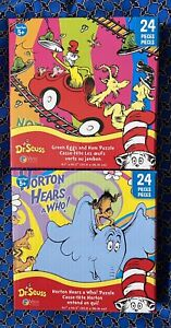 NEW 2 Dr Suess jigsaw Puzzles 24 Pieces Green Eggs & Ham Horton Hears A who