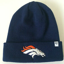 Denver Broncos Adult 47 BRAND Basic CUFFED KNIT Cap Beanie Hat Navy Blue-OSFM