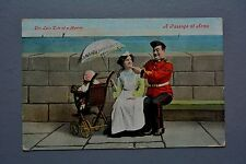 R&L Postcard: Valentine Comic, Love Tale of a Marine Maid Baby Pram Soldier