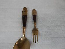 Vintage! Siam Teakwood & Brass Boulon Spoon and Fork