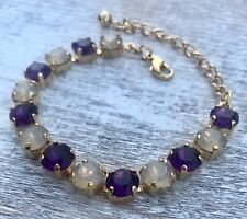 Crystal Bracelet Gold Plate Made With Swarovski Elements Amethyst Purple