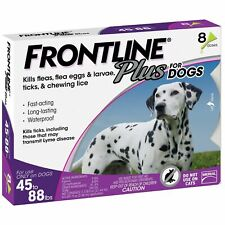 8 Doses Frontline Plus Flea & Tick Treatment Control for Large Dog(45-88 lbs)