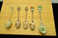 LOT OF 5 COPPER & SILVER PLATED ENAMEL COLLECTOR SPOONS -CANADA