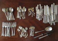 Antique Art Deco Sterling Silver Flatware Set for (12),  FORKS, SPOONS, KNIVES