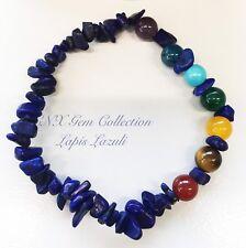 Crystal Gemstone Lapis Lazuli Chip Stone Chakra Beads Stretchy Bracelet B