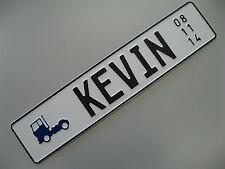KFZ-Geburtstagsschild, Fun-Kennzeichen, Prägung nach Wunsch, mit LKW-Symbol
