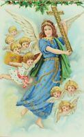 C.1900-10 Gilt Merry Christmas Angel Cross Cloud Holly Vintage Postcard F56