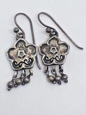 BARSE Sterling Silver Floral Dangle Hoop Earrings