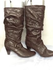 Cathy Jean Women's Brown Slouchy Shaft Mid-Calf Buckle High Heel Boots Size 7
