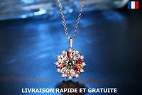 Collier Pendentif Fleur Strass Bijou Femme Cadeau Soirée Mariage Fête Des Mères
