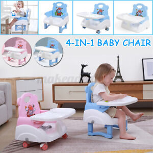 4 In 1 Baby High Booster Chair Seat Foldable Adjustable Tray Child Feeding Table