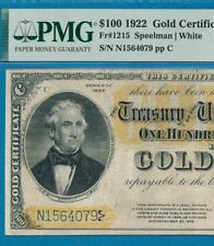 $100. FR.1215 1922 GOLD SEAL GOLD CERTIFICATE PMG VERY FINE 25 'NO COMMENTS'
